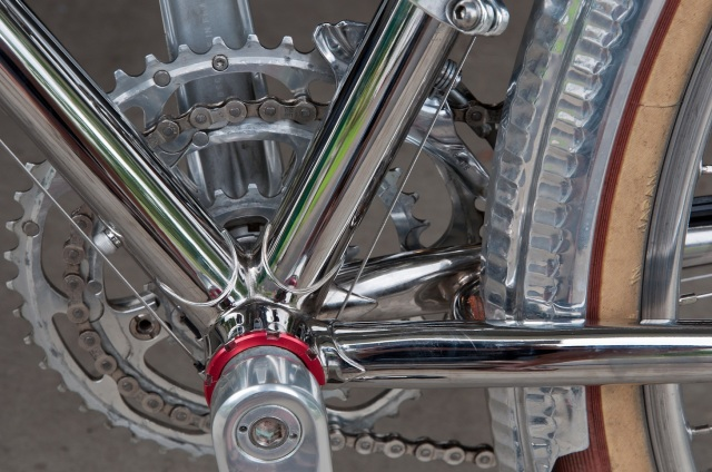 The area behind the bottom bracket requires extra attention to ensure the layers of nickel and chrome adhere.